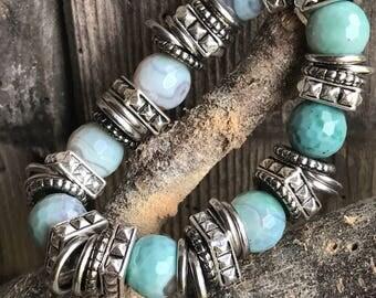 Turquoise & Silver Gemstone Bracelet