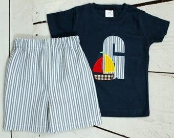 Boys Sailboat Shirt- Personalized Applique Shirt- Toddler Boys Sail boat outfit- Seersucker Shorts- Size 6m, 12m, 18m, 2t, 3t, 4t, 5t, 6