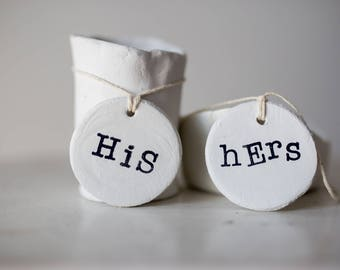 His & Hers tag, His and his tags, hers and hers tags, house warming gift