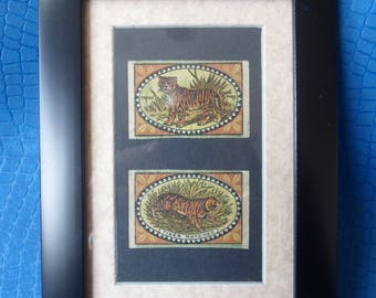 Genuine Old matchbox labels  framed