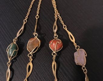Vintage Stone and Gold Toned Long Layering Necklace