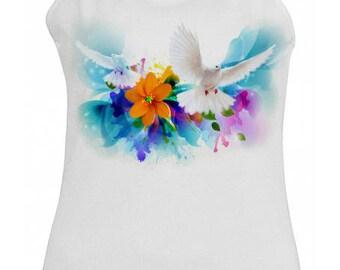 White tank top for women - white doves