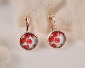 Red poppy earring, rose gold ear wires.