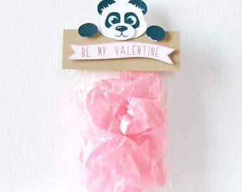Panda Valentine's Toppers: treat bag, goodie bags, valentine bags, class bags, pass out, sweet sayings, puns, school- LRD021V