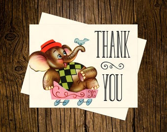 Elephant Thank You Note Cards Custom Printed Handmade Stationery Set of 12 Pink Vintage Ecru