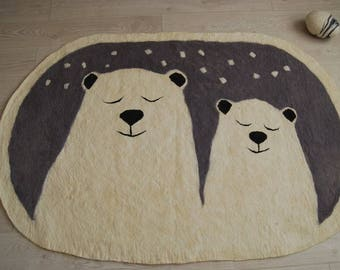 Bear rug, natural warm rug for the children's room