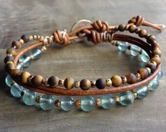 Fluorite 6 mm bohemian bracelet boho chic bracelet gemstone womens jewelry boho bracelet stackable bracelet hippie bracelet rustic bracelet