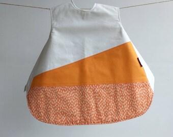 The Vinklar Bib Apron , Rain, white, orange , baby shower gift, baby bib, bib, apron, skagfa