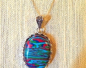 """Sale Fancy Unique OVAL Rainbow Calsilica Pendant Necklace - Sterling silver - Agate Necklace - 18"""" Sterling Chain - 925 Rainbow Calsilica Pe"""