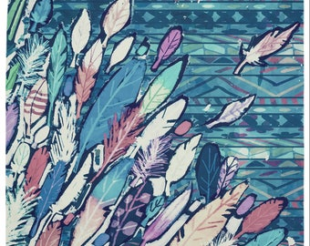 Painted Feathers Wall Hanging Tapestry