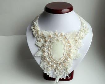 Wedding Necklace, Seed Bead Necklace, Gemstone necklace, Beige  necklace, crystals necklace.