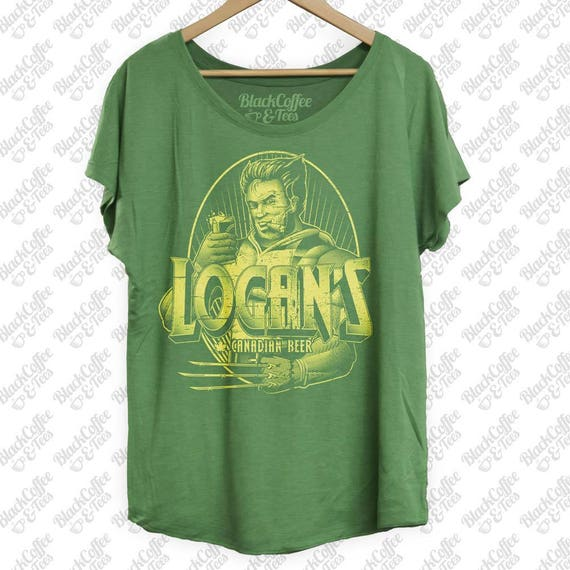 Womens St Patricks Day Shirt-Craft Beer Shirt - Logan from Wolverine Hand Screen Printed on a Womens Green Shirt -Womens St Pattys Day Shirt