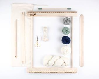 """Kit de métier à tisser tissage 14""""/ tout ce que vous devez faire votre propre décoration murale tissé / Moss et marine"""