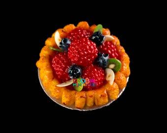 Dollhouse Miniatures Handcrafted Clay Raspberry and Blackcurrant in Syrup Round Fruit Tart on Aluminum Dish - 1:12 Scale