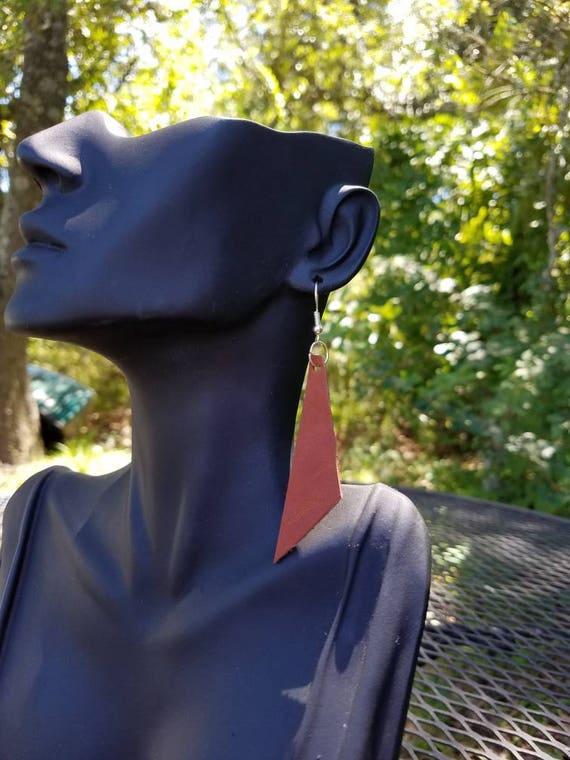 Leather Earrings, Minimalist Earrings, Lightweight Earrings, Brown Earrings, Dangle Earrings