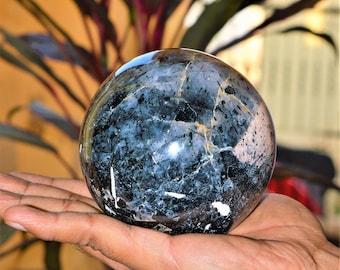 Black Tourmalated Quartz In Tourmaline 105MM Healing Power Sphere Ball W/Stand