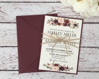 Rustic Burgundy Invitation, Boho Chic Invitation, Marsala Wedding Invitation,  Floral Invitation, Rustic