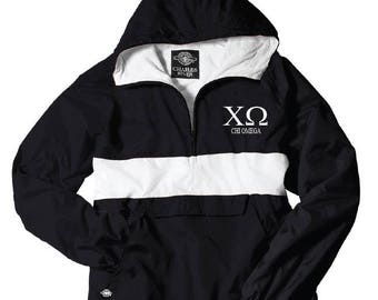Chi Omega // Chi O // Sorority Charles River Rain Jacket (stripe)  // Choose your color
