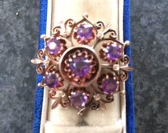 Victorian European !4k Gold Jeweled Starburst Pin