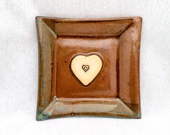 Stoneware pottery square plate/ dish, metallic copper brown and turquoise blue glaze, heart stamp appliqué, heart plate, square heart plate