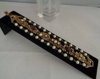 Vintage Unsigned GOLDETTE Bracelet with Two Rows of Pearls with Goldtone Chain & Purple Rhinestones in the Center. My Mothers Bracelet.