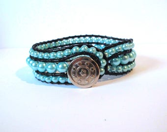 Wrap bracelet blue sky, black leather cord