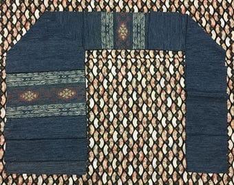 Vintage Japanese Kimono Indigo Cotton Flower Nagoya Obi