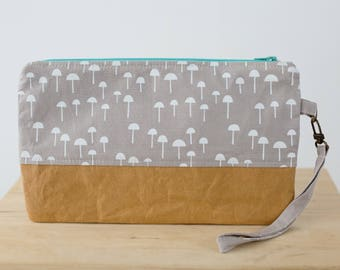 Washable paper wristlet clutch with toadstool print. Zipper pouch, Clutch bag, Small bag, Zipper clutch