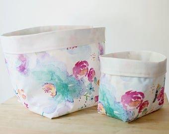 Floral storage basket. Nursery storage. Watercolour flowers. Nursery decor. Bathroom storage. Baby shower gift. Girls room decor.