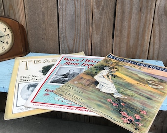 Antique Sheet Music - In The Hills of Old Kentucky - When I Walked Home From School With You - Teasing - Early 1900's - Piano Music