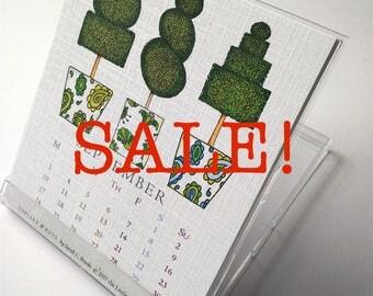 2018 Desk Calendar, Sun or Mon Start, CD Case Stand, Topiary Designs SALE!