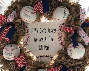 Baseball Wreath, Burlap Wreath