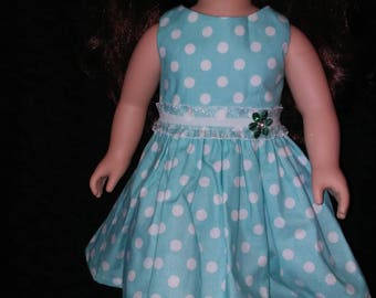 "18"" doll clothes. Doll Dress. Summer Fun. Polka Dots. Doll Style."