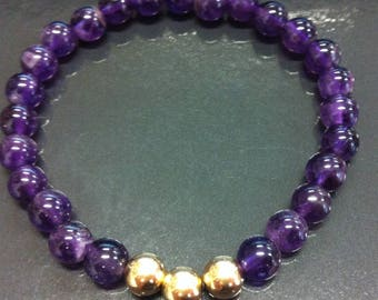 Bracelet with amethyst and plated 14 k gold