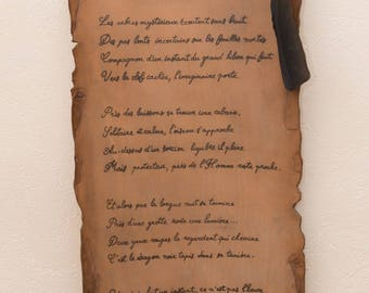 Poem written on parchment effect leather