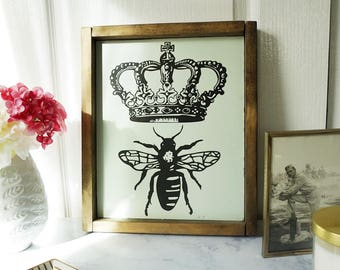 Queen Bee Wood Sign
