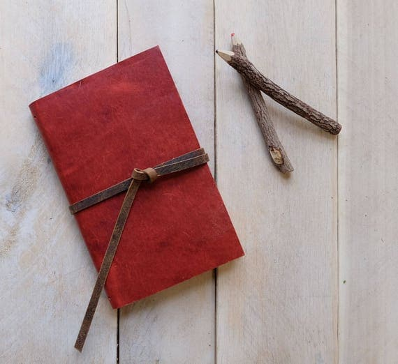 Classic Artist's Leather Watercolor Sketchbook - Tomato Red