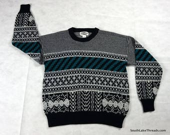 vintage sweater 1980s Expressions Black/Teal Sweater Men's Large Black White Teal vtg ugly sweater cosby sweater