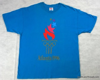 Vintage 1996 Atlanta Summer Olympic T-Shirt Men's XL Extra Large Atlanta Georgia Teal 96' Rare Vtg Olympic Rings