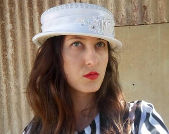 White hat, Vintage white hat for women, knitting hat,Retro Hat, Vintage women Hat ,Vintage Hat, Womens Hat,French Hat, 90s Hat, Hats,Sun hat