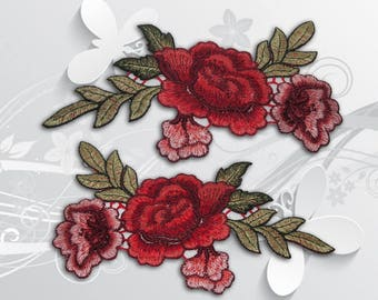"Vintage Flower Iron on Patch (XL2)-Rose Flower Embroidered Applique Patch, Dress Decoration Appliques-Size 7 1/4""(W)x5 1/4''(T)"