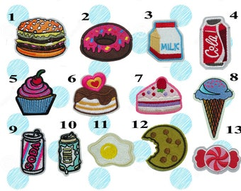 Food, Beverages,Dessert Iron on Patches(M2) - Drinks, Cake, Cola, Ice Cream Applique Embroidered Iron on Patch, Patches, Patch