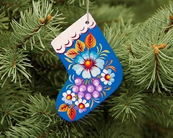 Handmade wooden toy Christmas tree Boot Petrikov Painting original Folk art Ukrainian