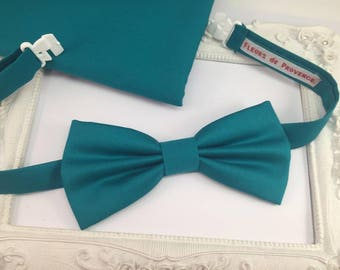 Bow tie and matching Costume pouch SET blue Turquoise man