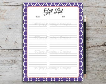 Gift List, Bridal Shower, Gift Registry, Party Game, Purple, Coral, Violet, Diamond, Wedding Shower, Printable, Instant Download T618G