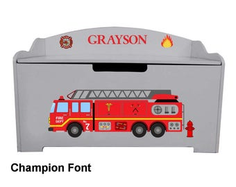 Personalized Dibsies Modern Expressions Firetruck Toy Box - Gray
