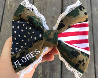 Military Patriotic Laced 2.0 Bow   Patriotic Bow   4th Of July   Patriotic Bow   Military Bow   Military Wife   Military Gift   Military