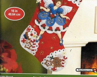 Bucilla Fairy sweet  felt Christmas stocking kit pattern 86439
