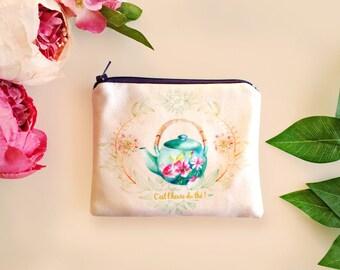 Porte-monnaie, cadeau Noël pour femme, petite trousse en tissu, petit porte-monnaie fait main, idée cadeau femme, théière aquarelle