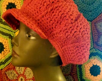 Crochet Newsboy Hat Beanie Red Cotton Slouchy Newsie Cabbie Tam Hand Crocheted Brimmed Cap